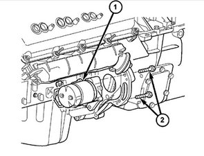 (5) move starter motor towards front of vehicle far enough for nose of  starter pinion housing to clear
