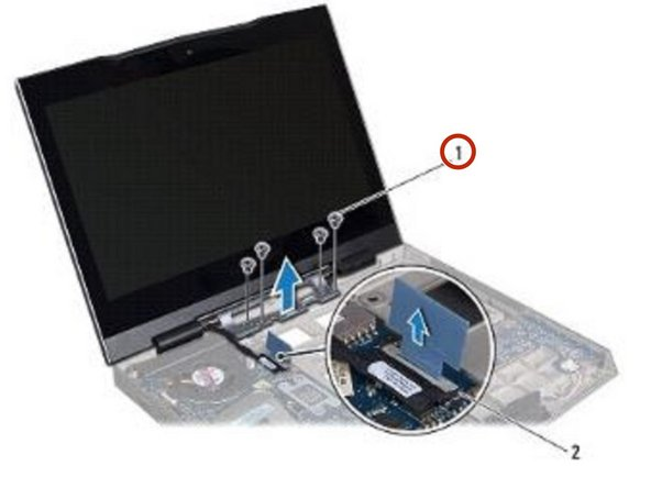 Remove the four screws that secure the display assembly to the computer base.