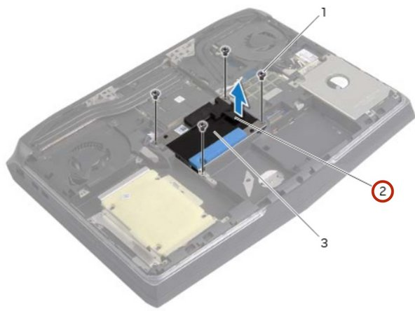 Using the pull-tab, lift the hard-drive assembly off the computer base.
