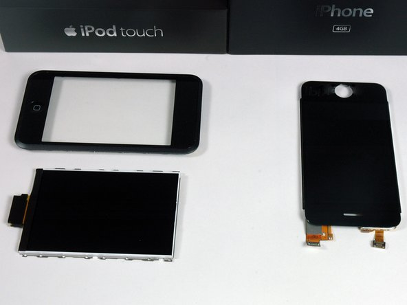 Image 1/1: Left: iPod Touch front bezel and LCD. Right: iPhone LCD and integrated bezel.