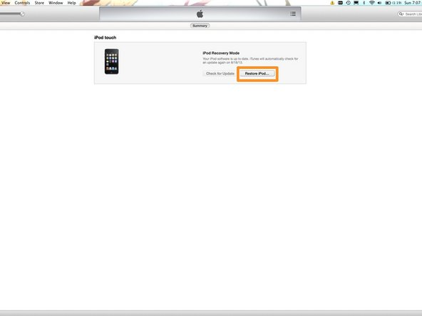 Click Restore iPod/iPhone and then click Restore and Update. Once you do this, agree to the EULA.