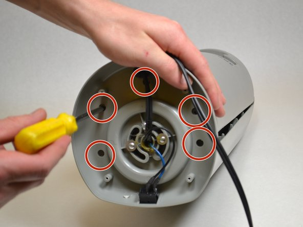 Remove the five screws that can be seen by aligning the base and the fan.