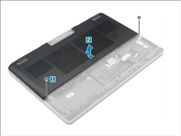 Remove the M2.5X5.0 screws that secure the base cover to the computer [1].