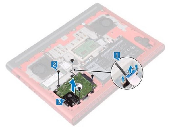 Connect the hard-drive cable to the system board and close the latch to secure the hard-drive cable.