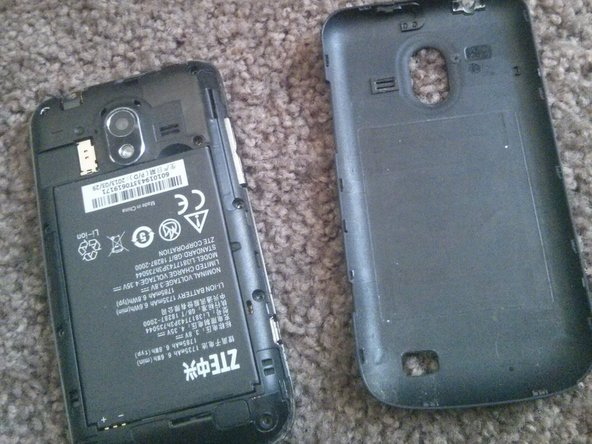 Remove the back cover, SIM card, battery and SD card.