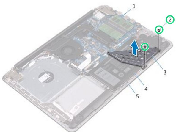 Replace the screws that secure the battery bracket to the system board and palm rest and keyboard assembly.