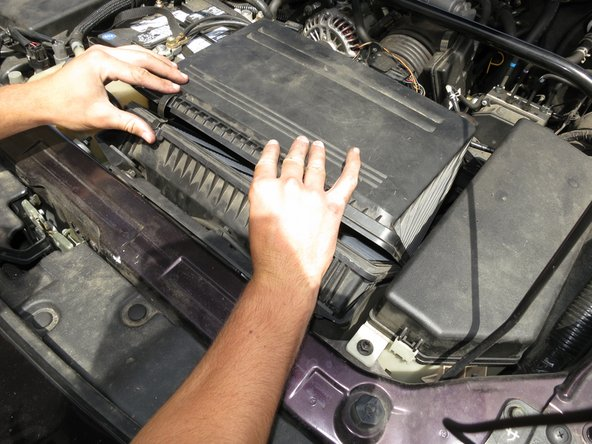 Pry apart the cover of the air filter again to begin inserting your new air filter.