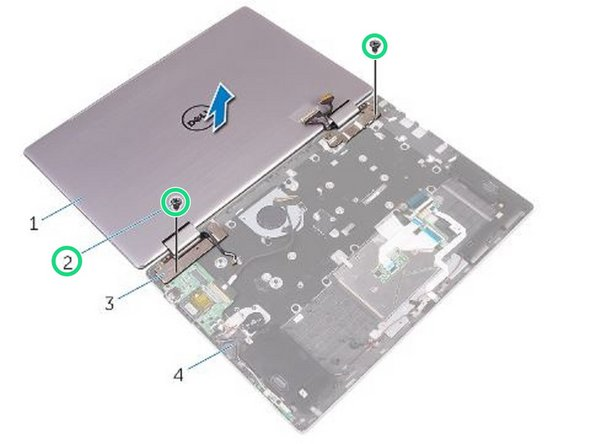 Remove the screws that secure the display assembly to the palm-rest assembly.
