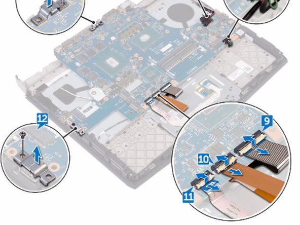 Remove the screw (M2.5x6L) that secures the USB Type-C port bracket to  the system board and lift the USB Type-C port bracket off the system board.