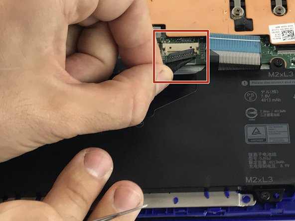 With tweezers, disconnect the battery cable.