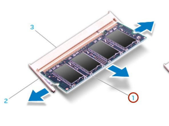 Use your fingertips to carefully spread apart the spring-locks on the memory  module connector until the module pops up.
