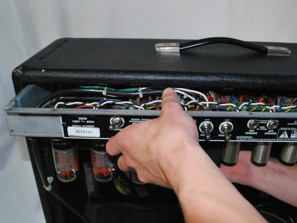 Carefully remove the amplifier head from the speaker cabinet.