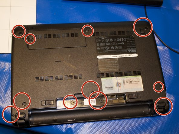 Remove the 3 screws highlighted in red that secure the keyboard to the case using the screwdriver with largest phillips head in the box. Make