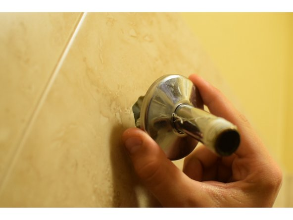 If your shower has a face plate, slide the plate over the shower arm onto the wall.