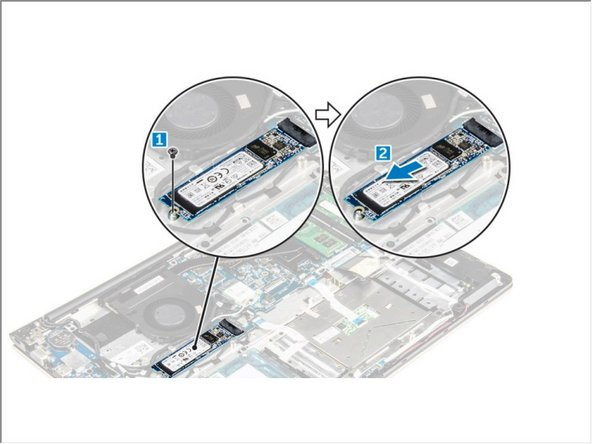 Remove the screws that secure the SSD [1] .