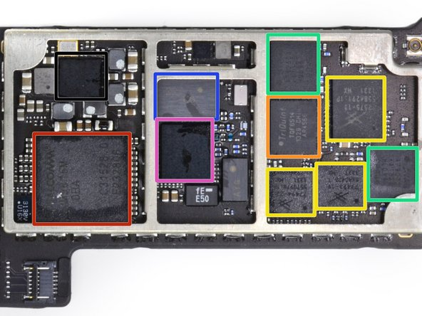 It wouldn't be an oversized iPhone without the phone parts—this end of the logic board sports all of the RF components.