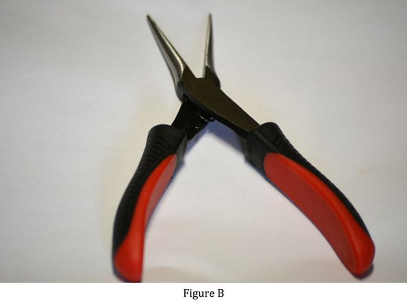 Figures B and C: While holding the needle nose pliers in one hand, clamp onto one end of the jump ring and hold on to the other end with your thumb and index finger.