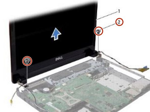 Remove the two screws that secure the display assembly to the computer base.