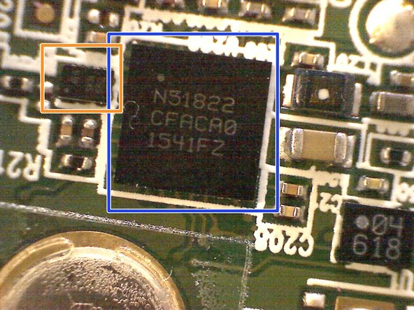 Below the bluetooth chip there are two crystal oscillators. According to the datasheet of the nRF51822 the system uses 2 clocks: A high frequency clock (HFCLK) and a low frequency clock (LFCLK). The HFCLK is fixed to 16 MHz and the LFCLK is fixed to 32.768 kHz.