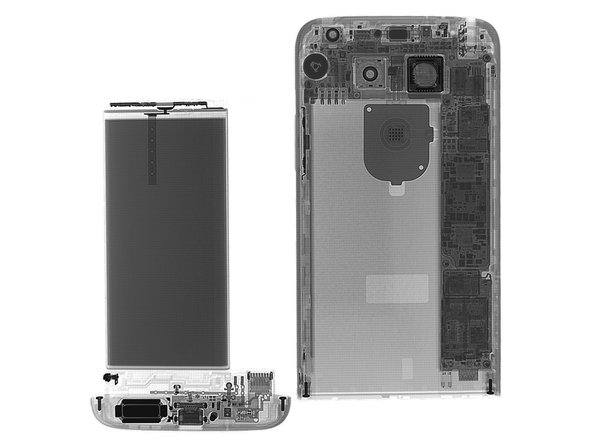 Image 1/3: Do our X-ray eyes deceive us, or does this look a lot like an [https://www.ifixit.com/Teardown/iPhone+SE+Teardown/60902#s127231|new_window=true|iPhone]? Well, except for that snappy removable battery, of course.