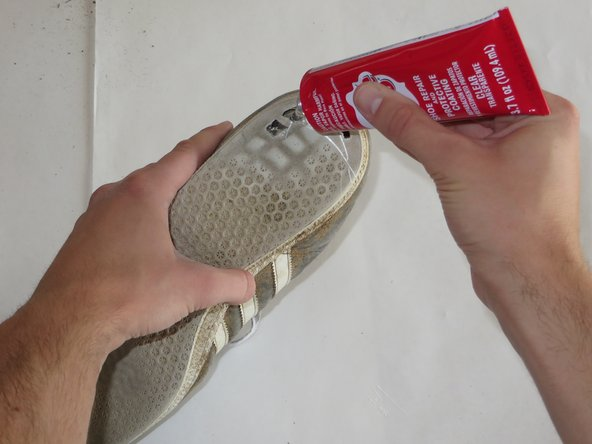 Apply shoe goo to the inside of the hole in the sole of your Adidas Gazelles.