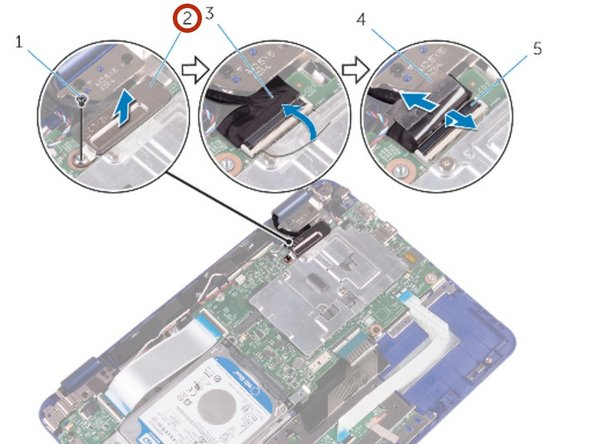 Lift the display-cable bracket  off the system board.