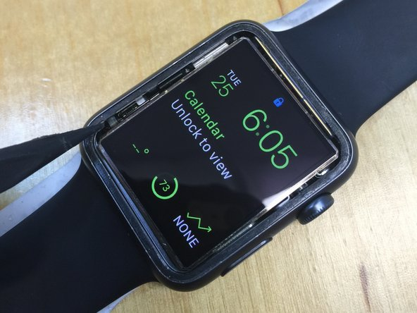 Be careful of the force touch flex cable that sticks into the frame on the bottom left of the display while removing the display assembly from the frame. The force touch gasket sits around the ENTIRE edge of the watch and is a thin silicone membrane. Test your AMOLED after separation before proceeding to the next steps.