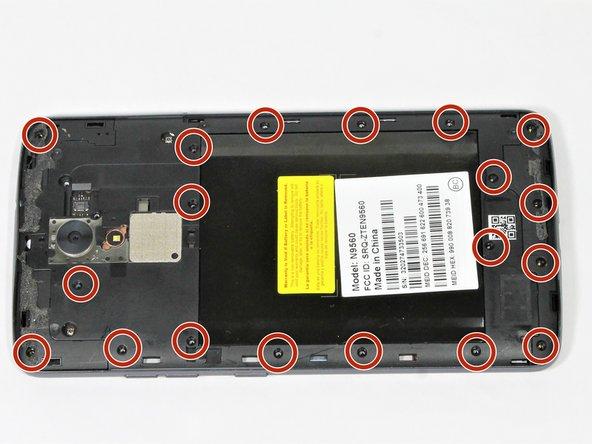 Remove the nineteen 3.4mm JIS #00 screws on the perimeter of the back using the JIS #00 screwdriver.