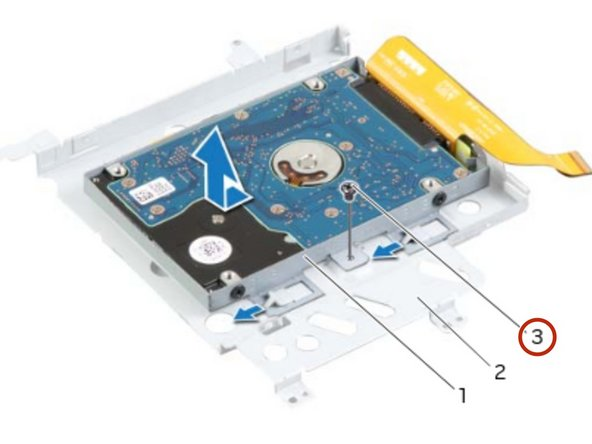 Align the screw hole on the secondary hard-drive assembly with the screw hole on  the main bracket.