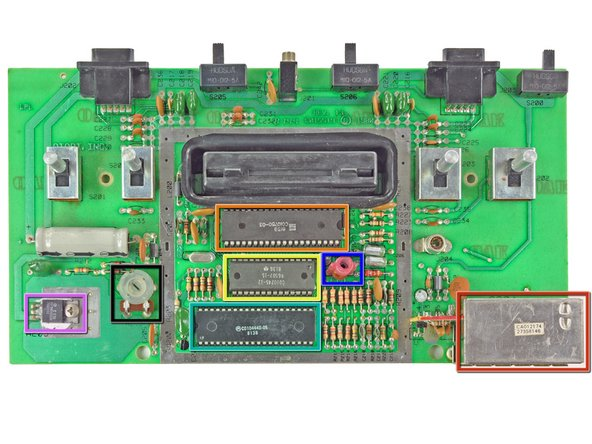 With the EMI shield removed, all the components of the motherboard are visible.