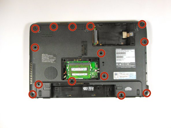 Remove all fourteen (14) 6.0 mm 'F6' screws from the back panel using the Phillips #1 screwdriver.