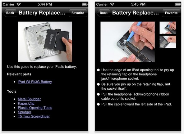 iFixit app on iPhone and iPod touch