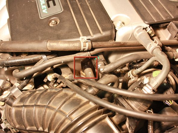 Remove the smog hose by squeezing the tubing and pulling it off.