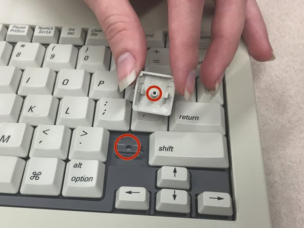 """Image 1/2: Use your index finger to press down on the middle of the key. You should hear it """"click"""" into place."""