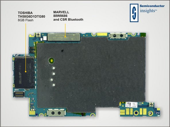Image 1/1: Toshiba manufactured the flash in both iPhone logic boards we've seen so far. We'll see if this trend holds.