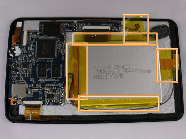 Image 2/2: Remove the 5 yellow pieces of tape from the device.