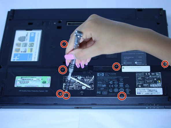 Use a J1 screwdriver to remove each screw on the bottom of the computer. This will allow for the opening of the laptop to gain access to the fan.