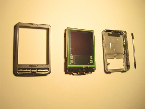 So separating the frame from the internals is fairly obvious.  Just pull the thing apart and everything comes out in three pieces. Make sure to remove the stylus before pulling it apart.