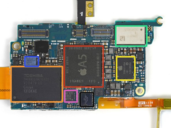 With the exception of the flash memory, it appears that the ICs on the 16 GB model's logic board are the same as those found on the 32 and 64 GB models:
