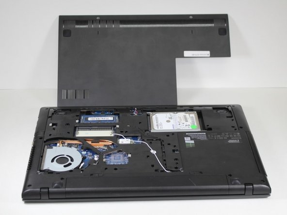 Remove the 2 screws from the backside of the Lenovo G70-80 using a Phillips-head screwdriver. Now you can remove the back of the Lenovo G70-80.