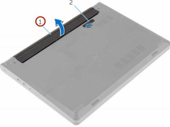 Lift the battery at an angle and remove it from the battery bay.