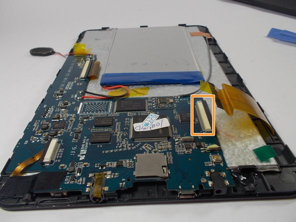 The ribbon is connected to the motherboard by a small bar. Using the spudger, pry the bar apart and slide the ribbon out.