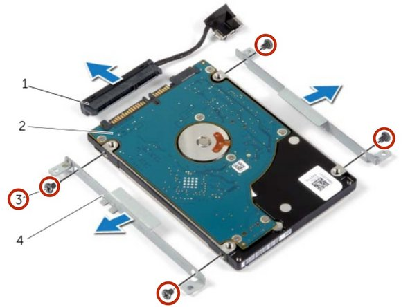 Remove the screws that secure the hard-drive brackets to the hard drive.