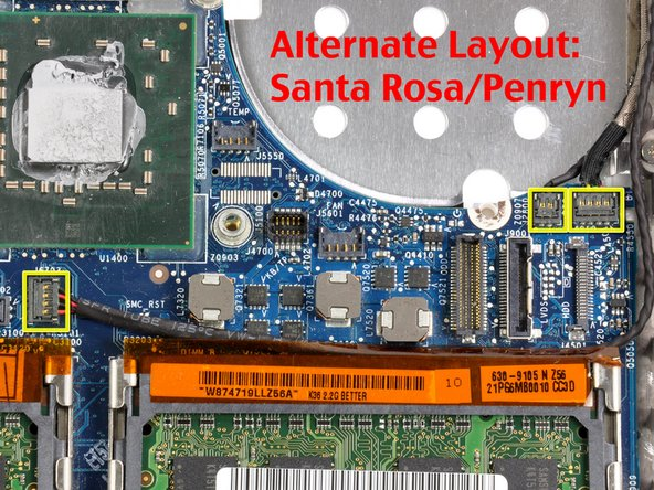 On Santa Rosa/Penryn models, the PRAM battery connector must also be removed.  See second picture.