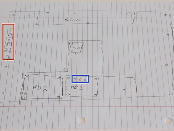 Sketch a diagram of the bottom of the laptop. Make sure to mark all of the screw holes.
