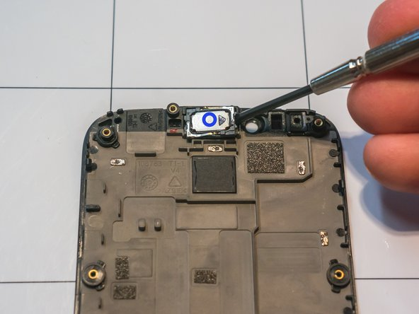 The only replaceable part on the screen assembly is the earpiece speaker, although removing it will ruin the double-sided foam adhesive strip that holds it in place.