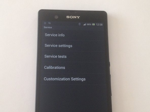 Sony Xperia Phone - Service / Test Menu