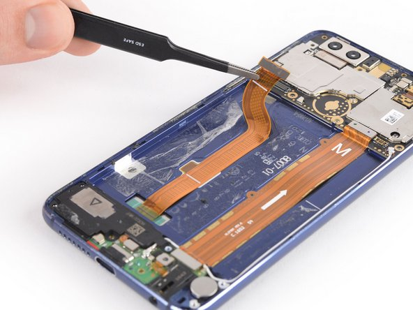 Use a pair of tweezers to carefully peel the display flex cable off of the midframe.
