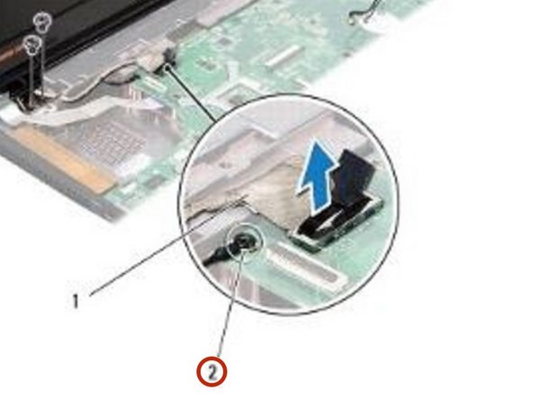 Replace the display cable grounding screw.