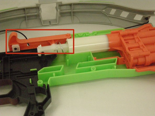 Make sure the cocking mechanism is properly aligned with the rest of the Nerf crossbow.
